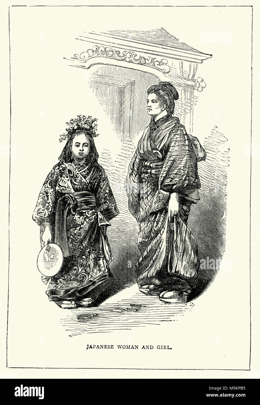 Japanese woman and girl in traditional costume. 19th Century - Stock Image