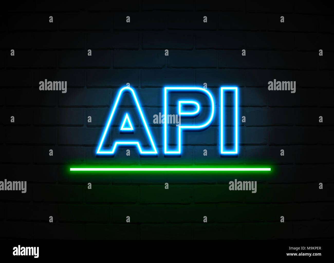 Api neon sign - Glowing Neon Sign on brickwall wall - 3D