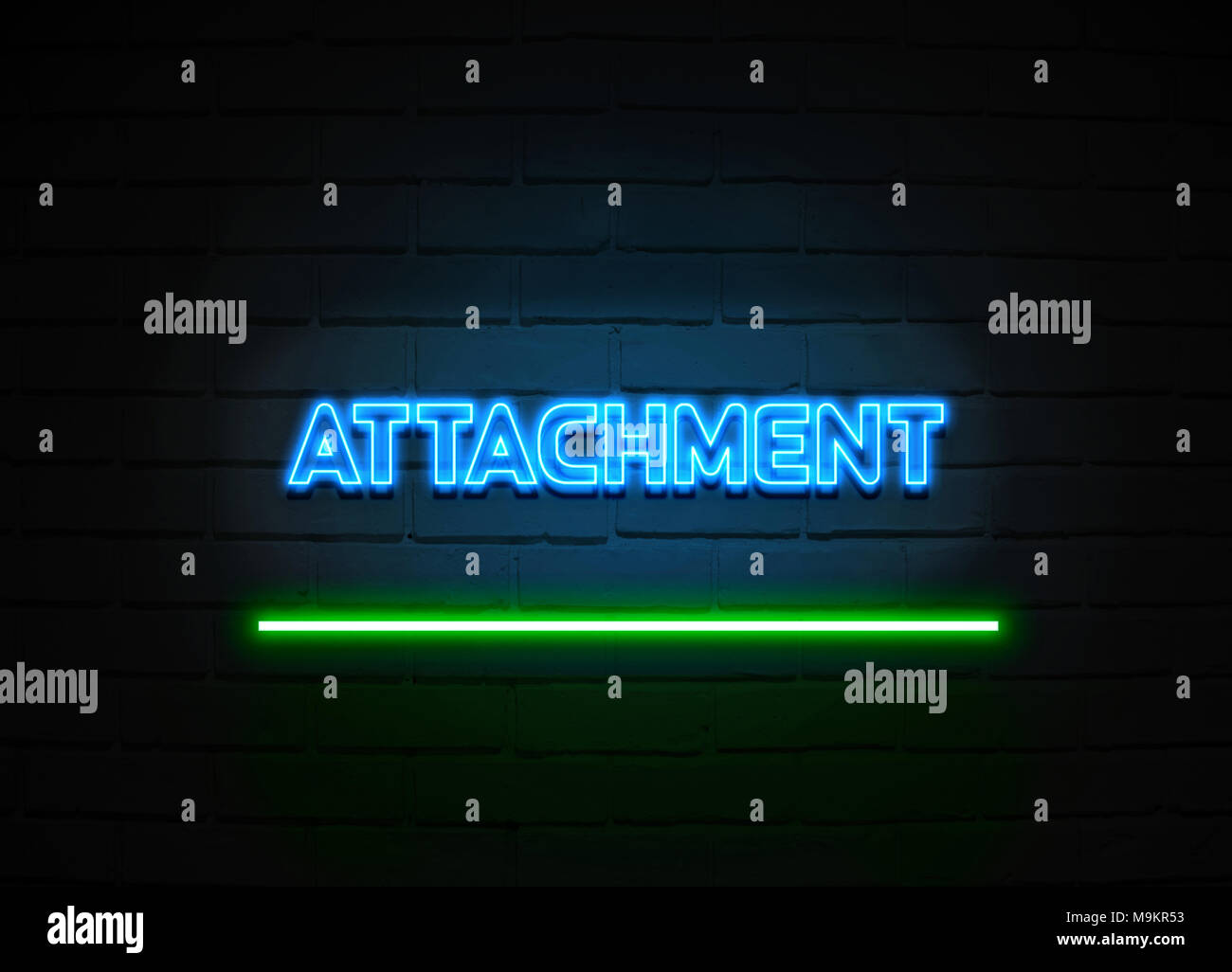 Attachment neon sign - Glowing Neon Sign on brickwall wall - 3D rendered royalty free stock illustration. - Stock Image