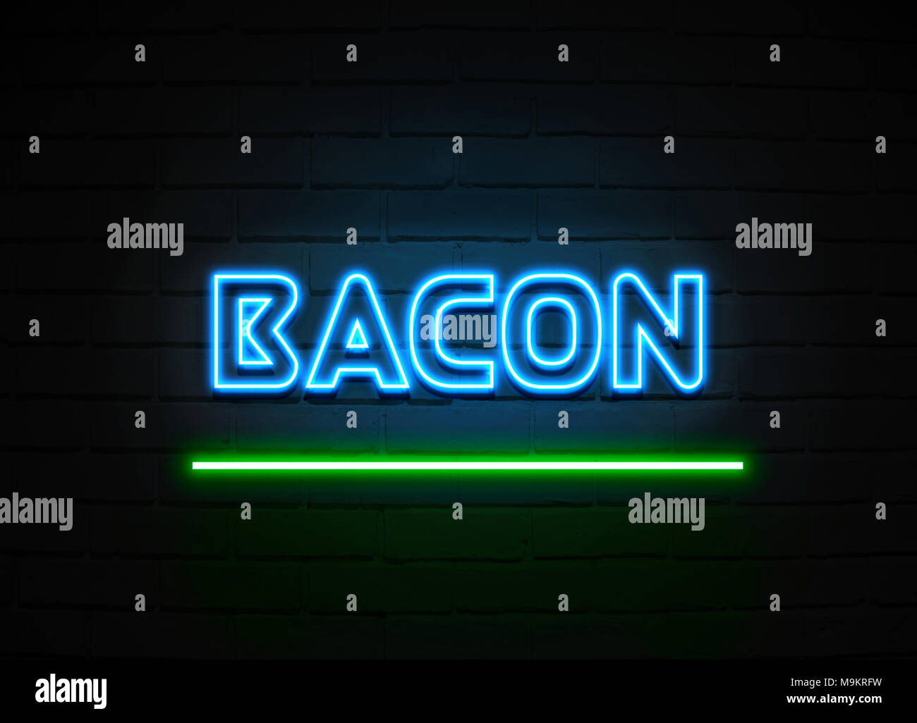Bacon neon sign - Glowing Neon Sign on brickwall wall - 3D rendered royalty  free stock illustration Stock Photo - Alamy
