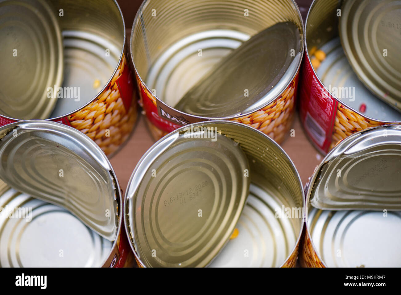 A quantity or selection of empty metal baked bin tins with the lids attached ready for collection with the rubbish or recycling. Recycling metals cans - Stock Image