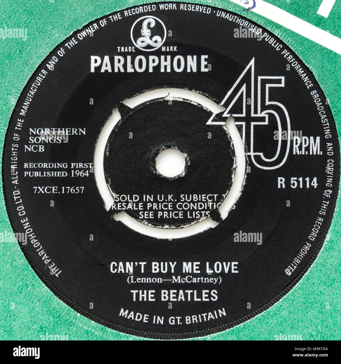 1964 original 45rpm single of 'Can't Buy Me Love' by The Beatles (Parlophone R5114) - Stock Image