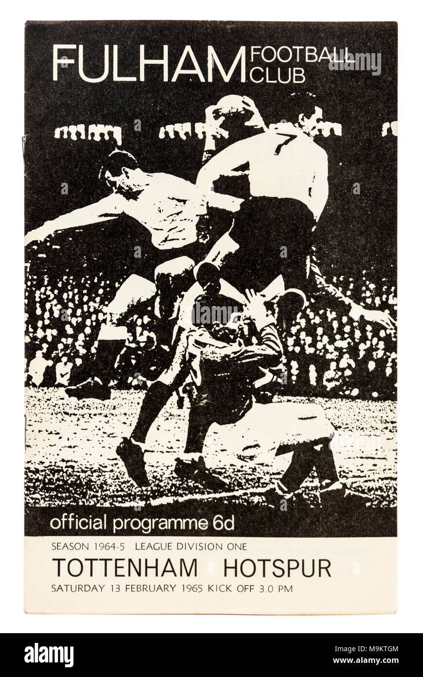 Programme of the football match between Fullham Football Club and Tottenham Hotspur on 13th February 1965 - Stock Image