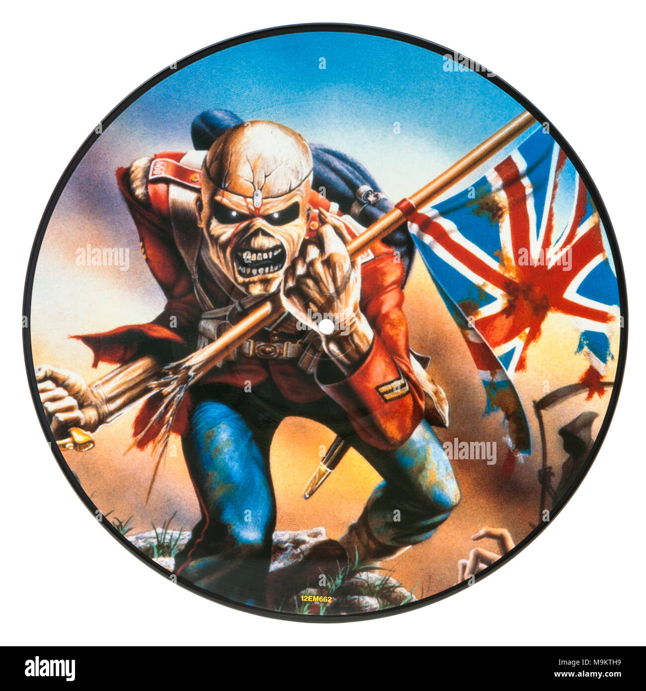 2005 Limited Edition Picture Disc (vinyl record) by the British heavy metal band Iron Maiden (The Trooper, Live) - Stock Image