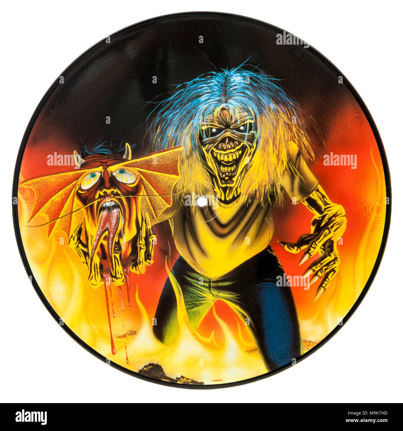2005 Limited Edition Picture Disc (vinyl record) by the British heavy metal band Iron Maiden (The Number of the Beast) - Stock Image