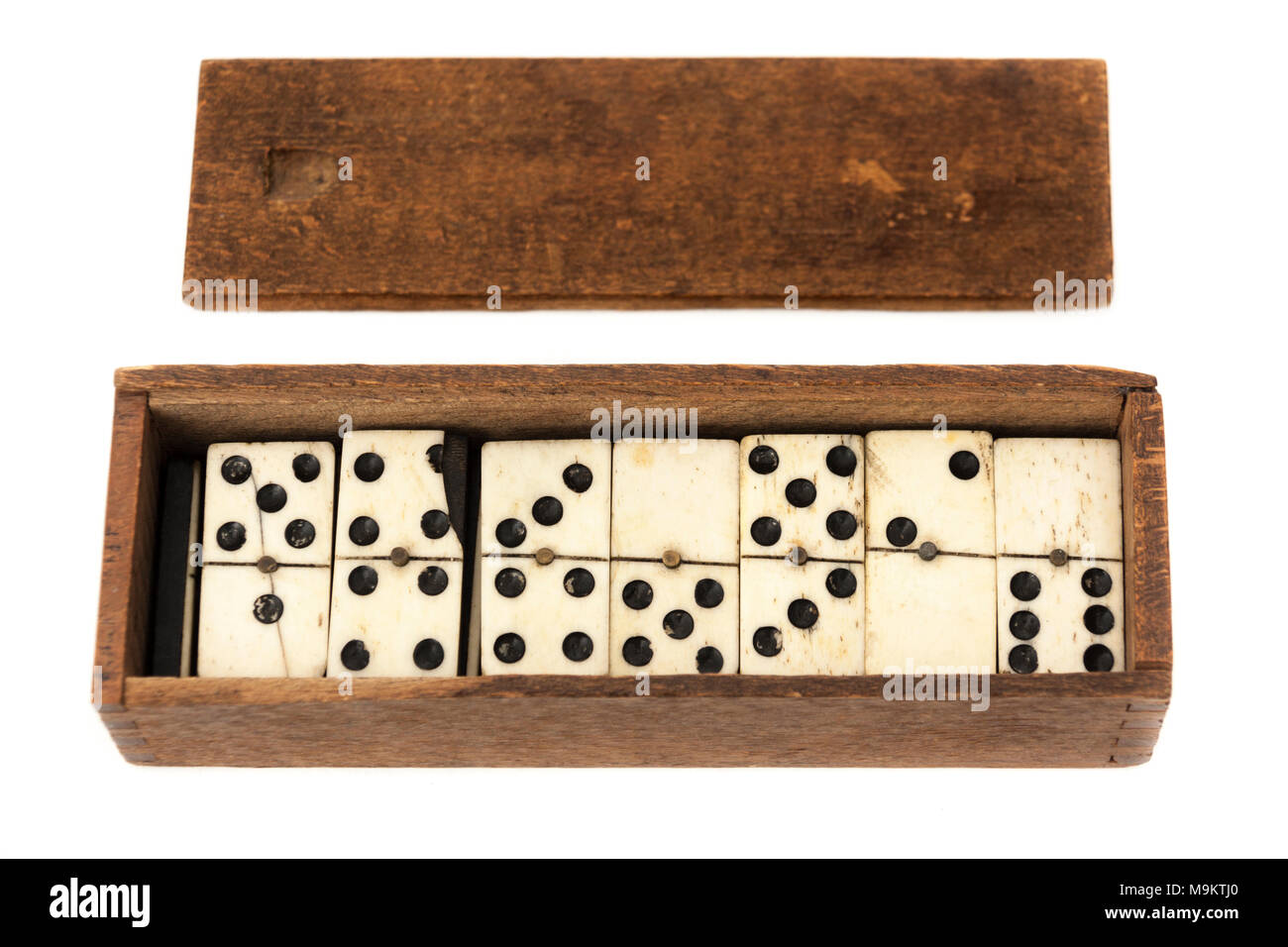 Antique set of dominoes made from bone - Stock Image