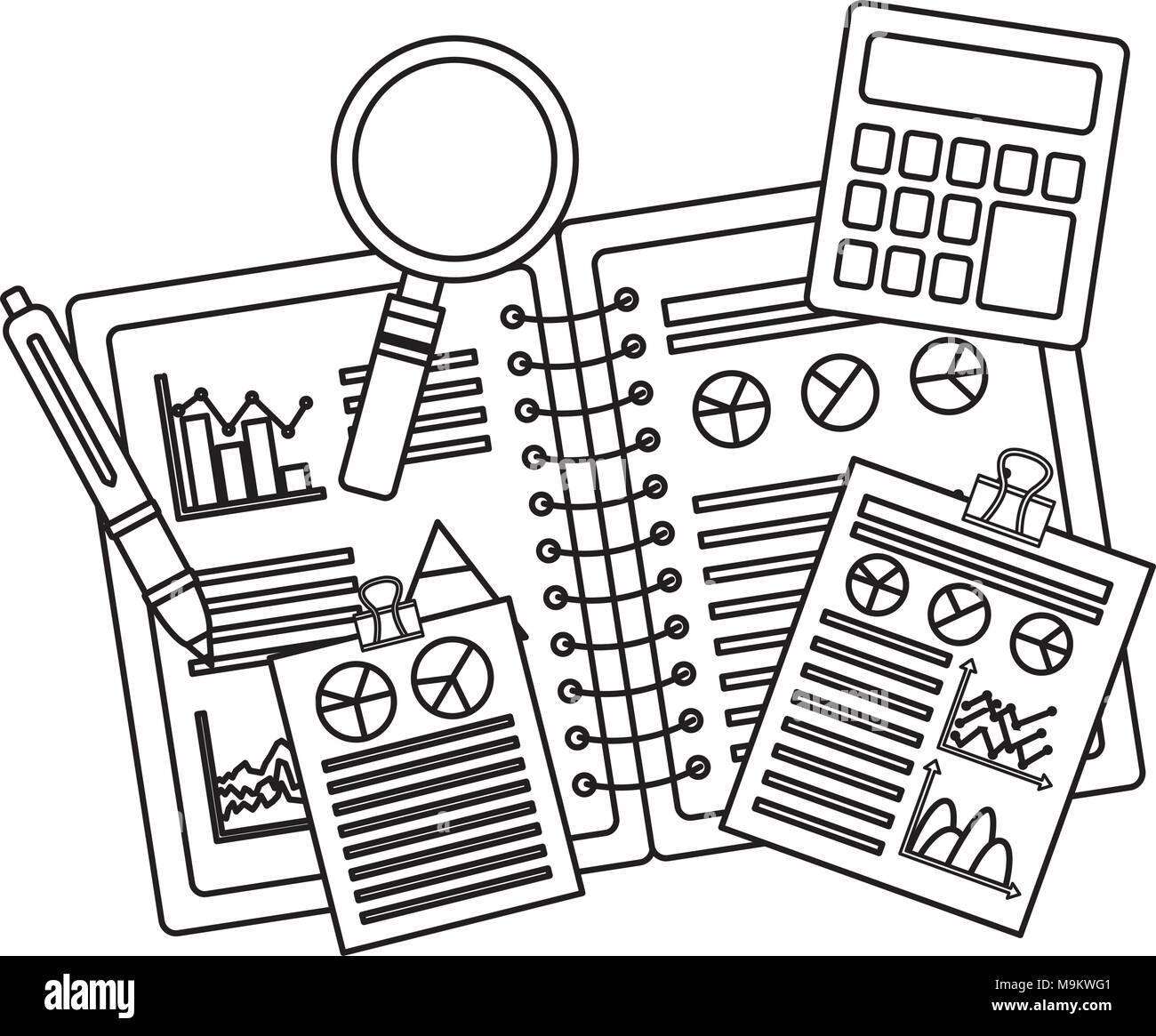 graphs document stock vector images alamy Presentation Visual Resume Templates business set notebook documents with graphs calculator pen stock vector