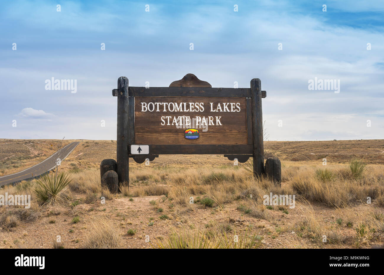 Bottomless Lakes State Park entrance sign near Roswell, New Mexico, USA. - Stock Image