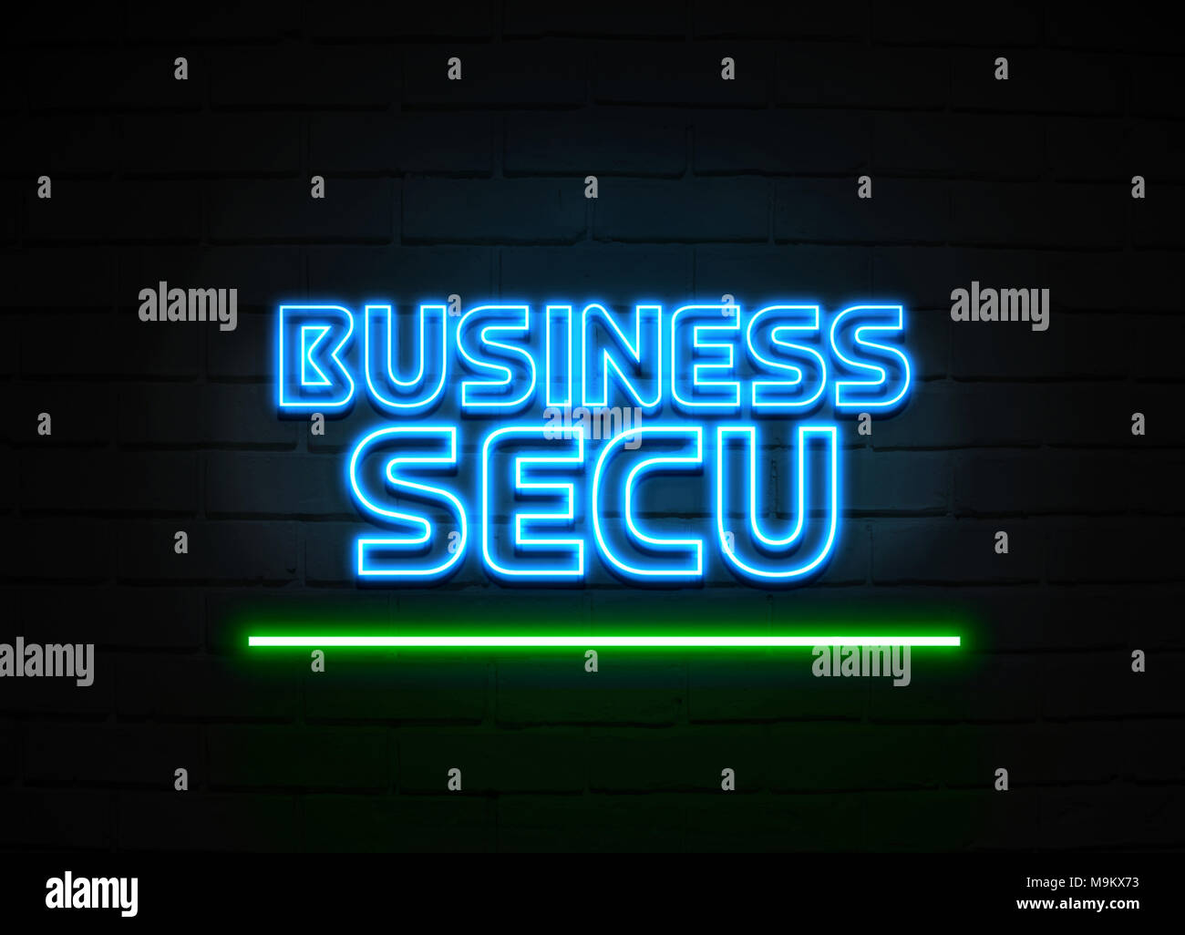 Business Secu neon sign - Glowing Neon Sign on brickwall wall - 3D rendered royalty free stock illustration. - Stock Image