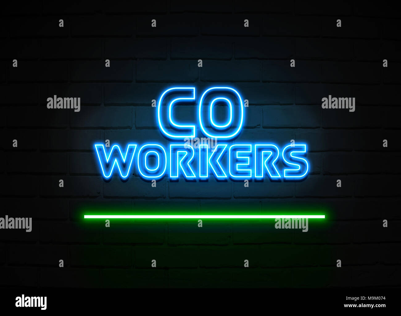 Co Workers neon sign - Glowing Neon Sign on brickwall wall - 3D rendered royalty free stock illustration. - Stock Image