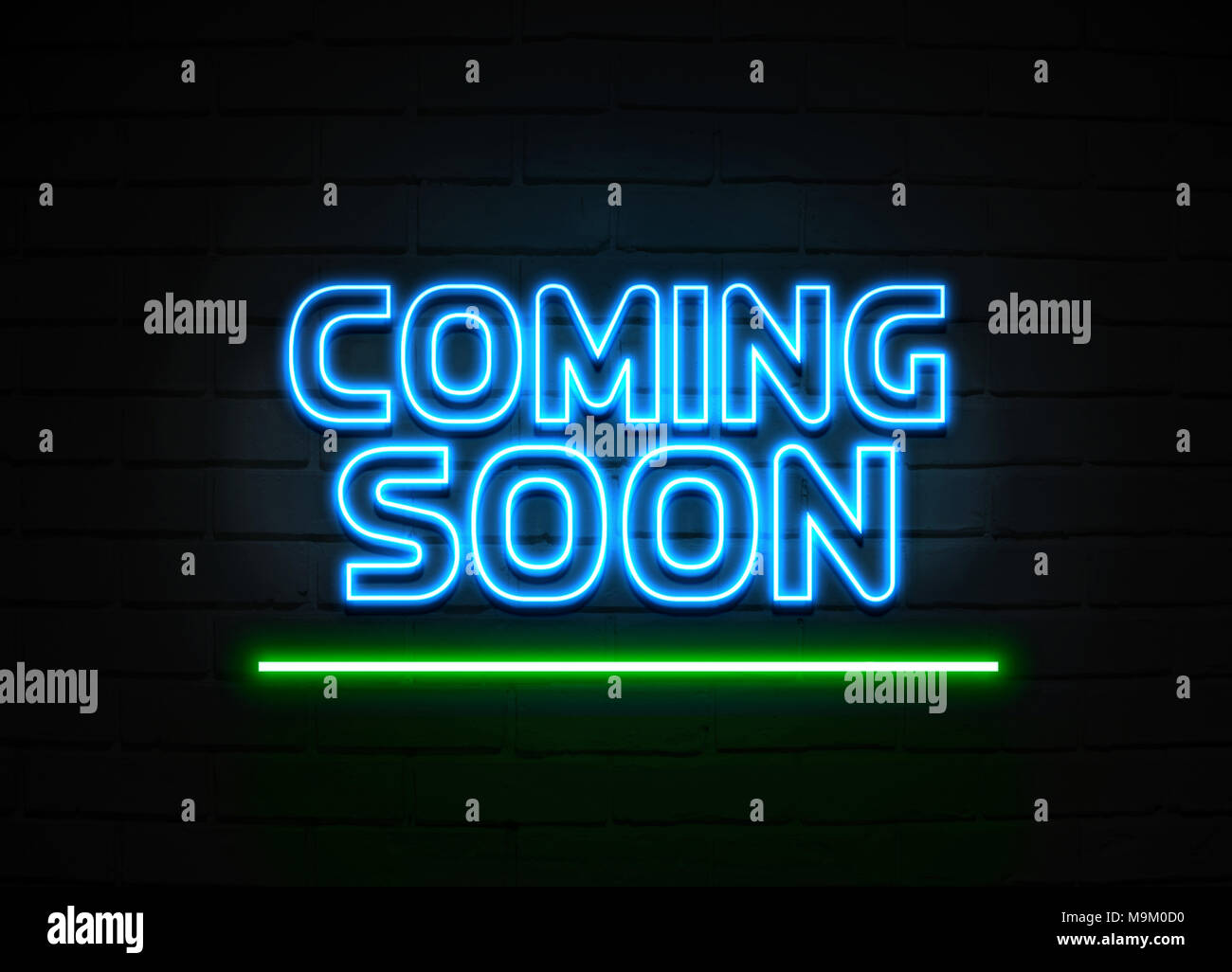 Coming Soon Neon Sign Glowing Neon Sign On Brickwall Wall 3d Rendered Royalty Free Stock Illustration Stock Photo Alamy