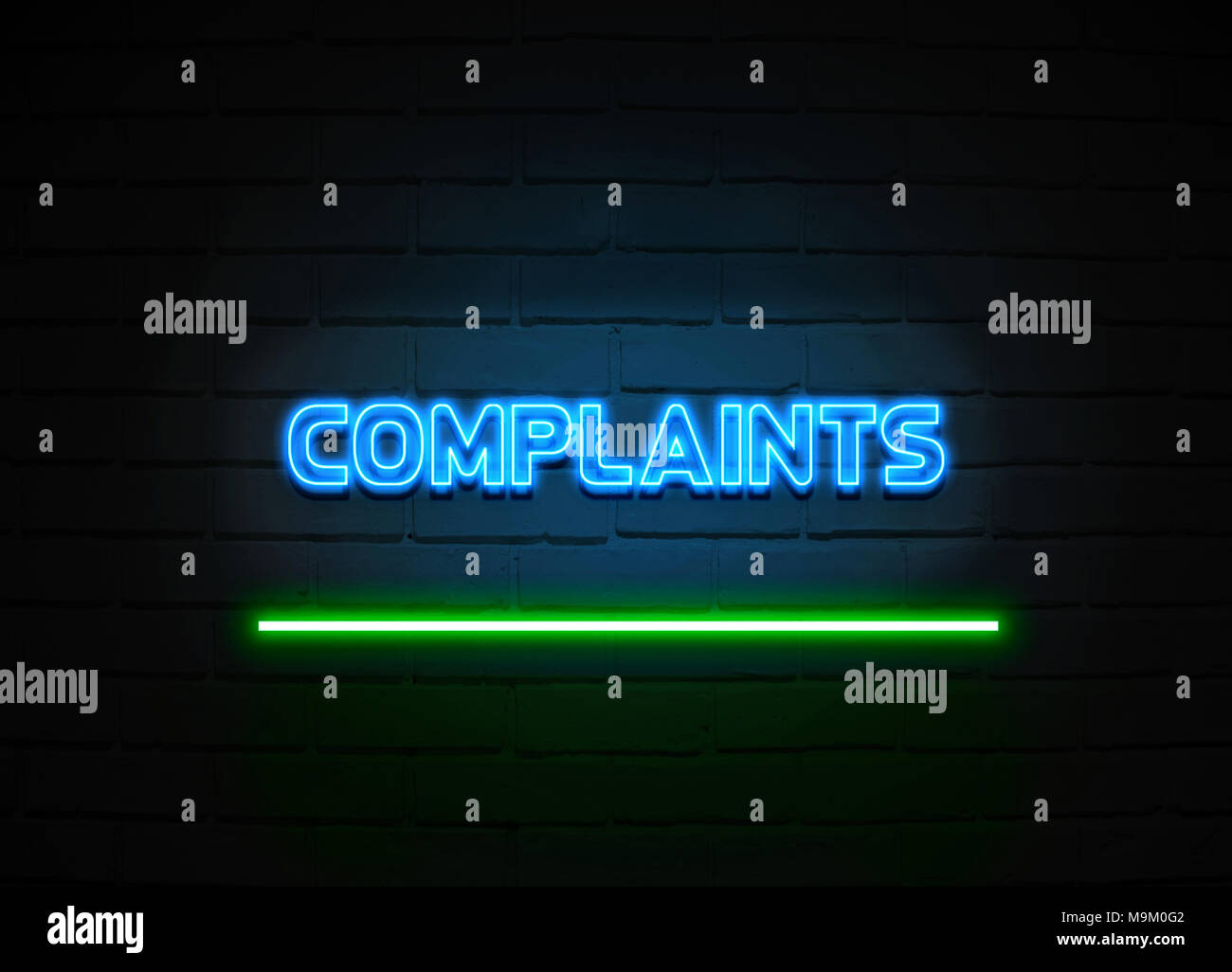Complaints neon sign - Glowing Neon Sign on brickwall wall - 3D rendered royalty free stock illustration. - Stock Image