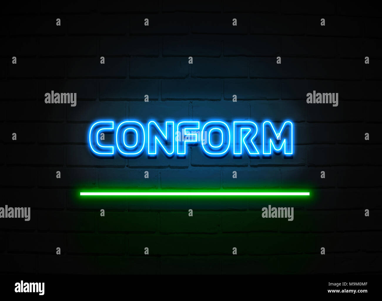 Conform neon sign - Glowing Neon Sign on brickwall wall - 3D rendered royalty free stock illustration. - Stock Image