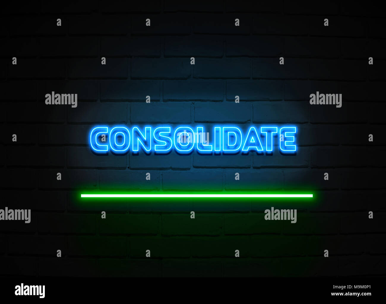 Consolidate neon sign - Glowing Neon Sign on brickwall wall - 3D rendered royalty free stock illustration. - Stock Image