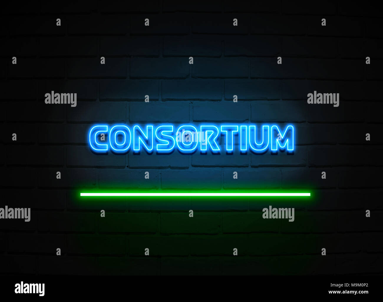 Consortium neon sign - Glowing Neon Sign on brickwall wall - 3D rendered royalty free stock illustration. - Stock Image