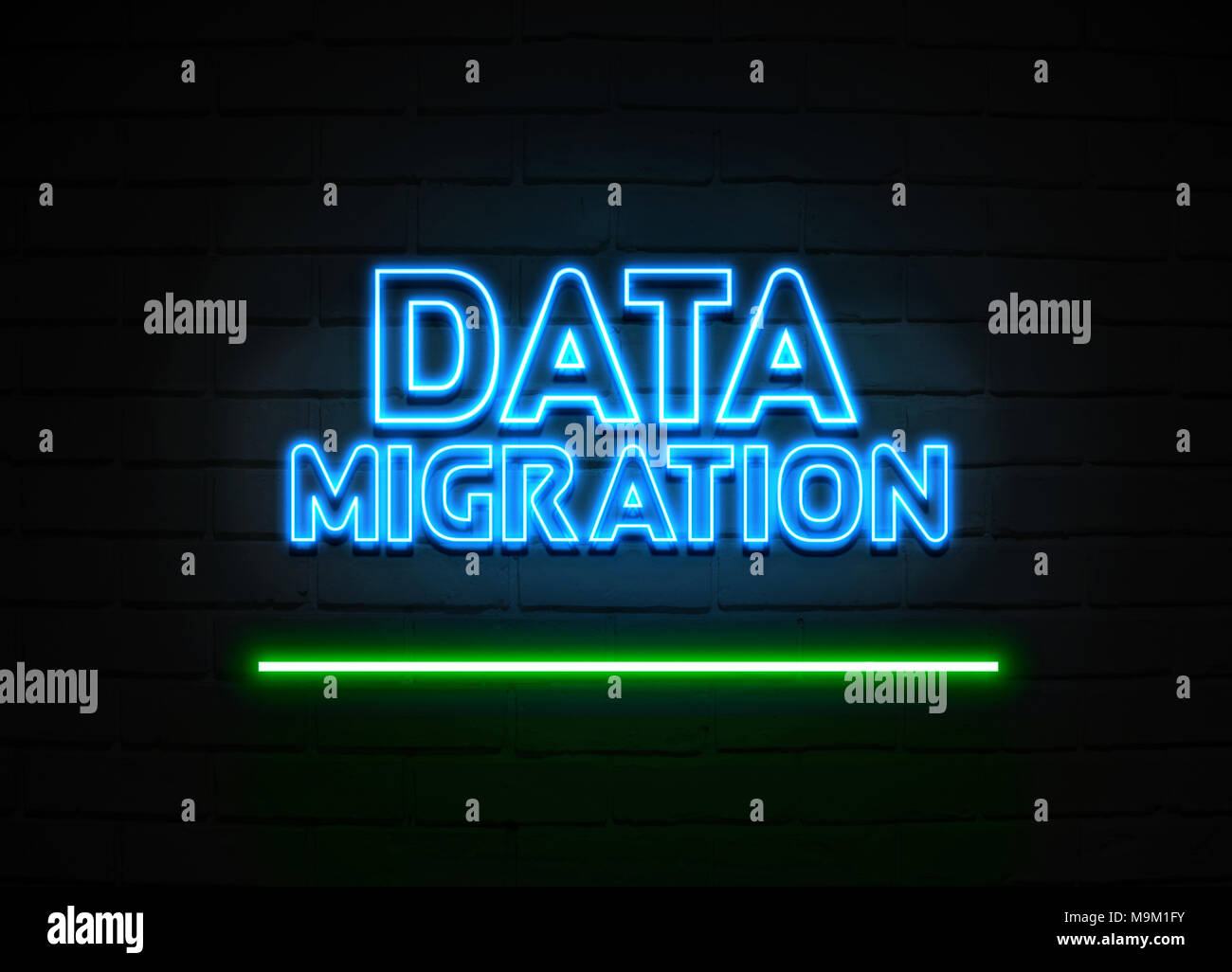 data migration neon sign glowing neon sign on brickwall wall 3d
