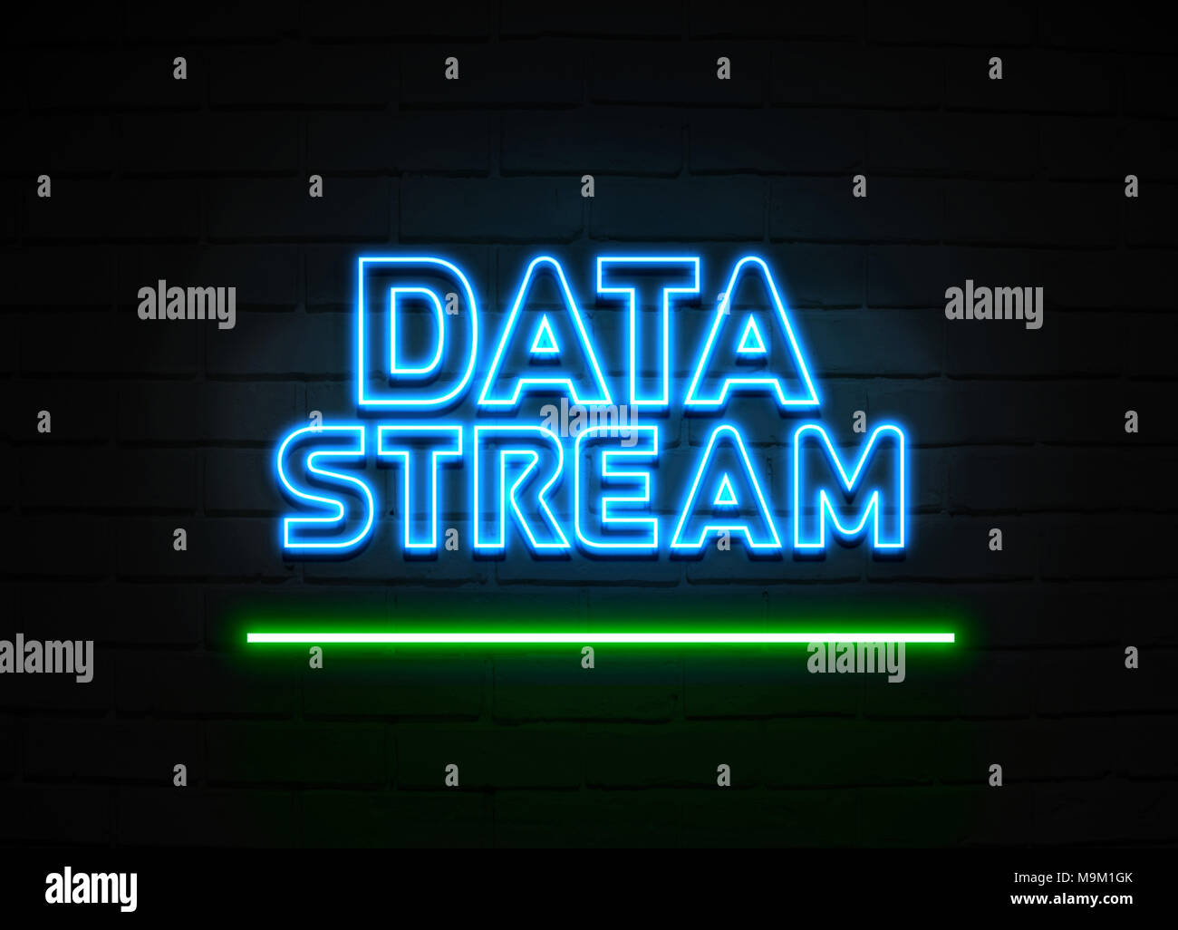 Data Stream neon sign - Glowing Neon Sign on brickwall wall - 3D rendered royalty free stock illustration. - Stock Image