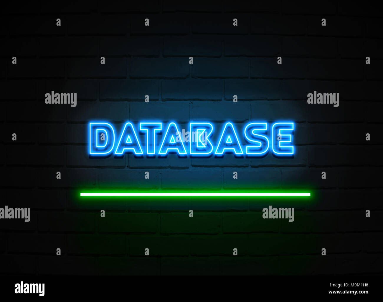 Database Neon Sign Glowing Neon Sign On Brickwall Wall 3d Rendered Royalty Free Stock Illustration Stock Photo Alamy