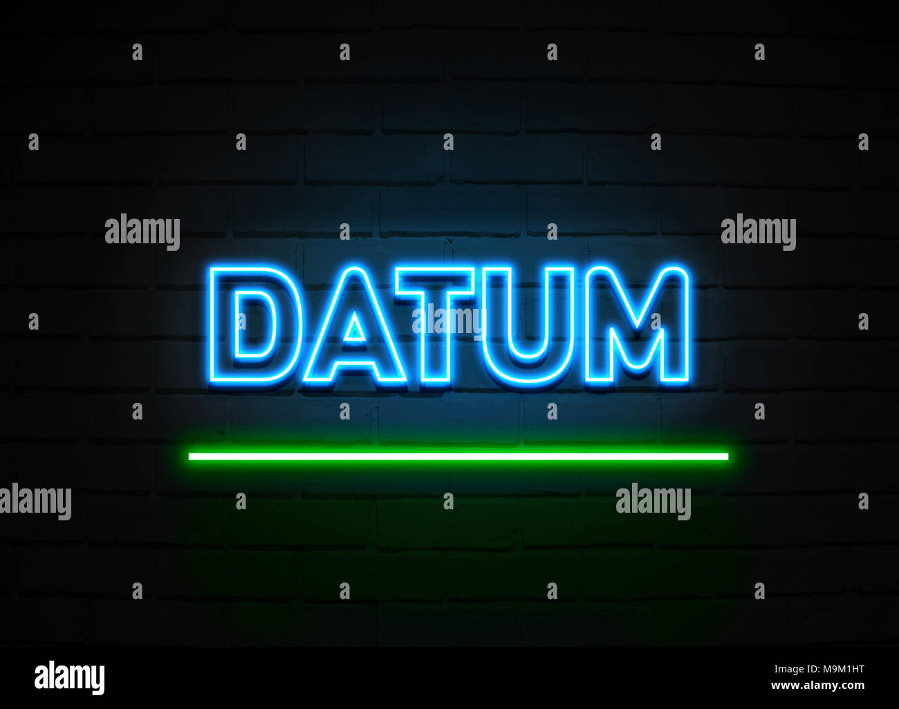 Datum neon sign - Glowing Neon Sign on brickwall wall - 3D rendered royalty free stock illustration. - Stock Image
