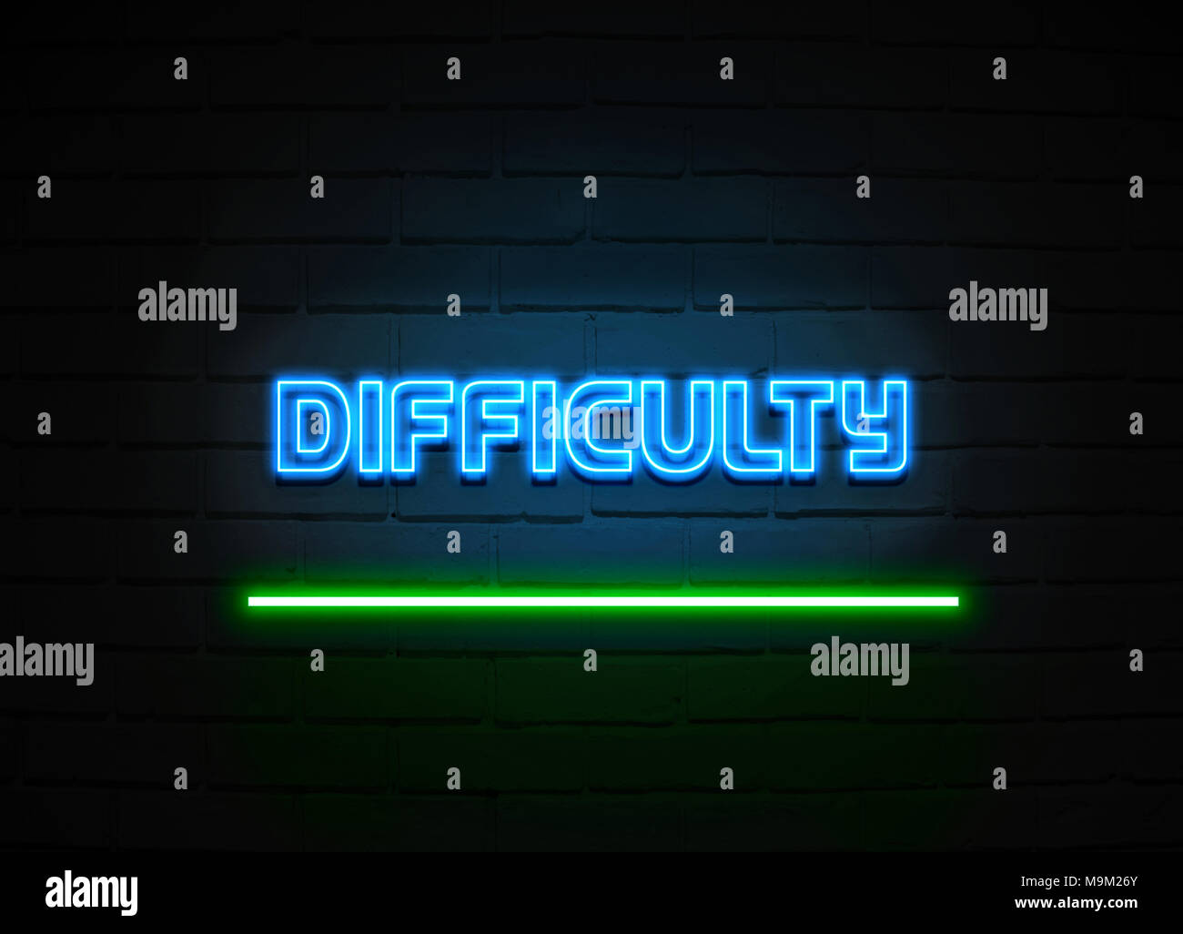Difficulty neon sign - Glowing Neon Sign on brickwall wall - 3D rendered royalty free stock illustration. - Stock Image