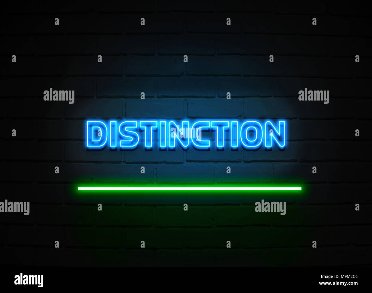 Distinction neon sign - Glowing Neon Sign on brickwall wall - 3D rendered royalty free stock illustration. - Stock Image