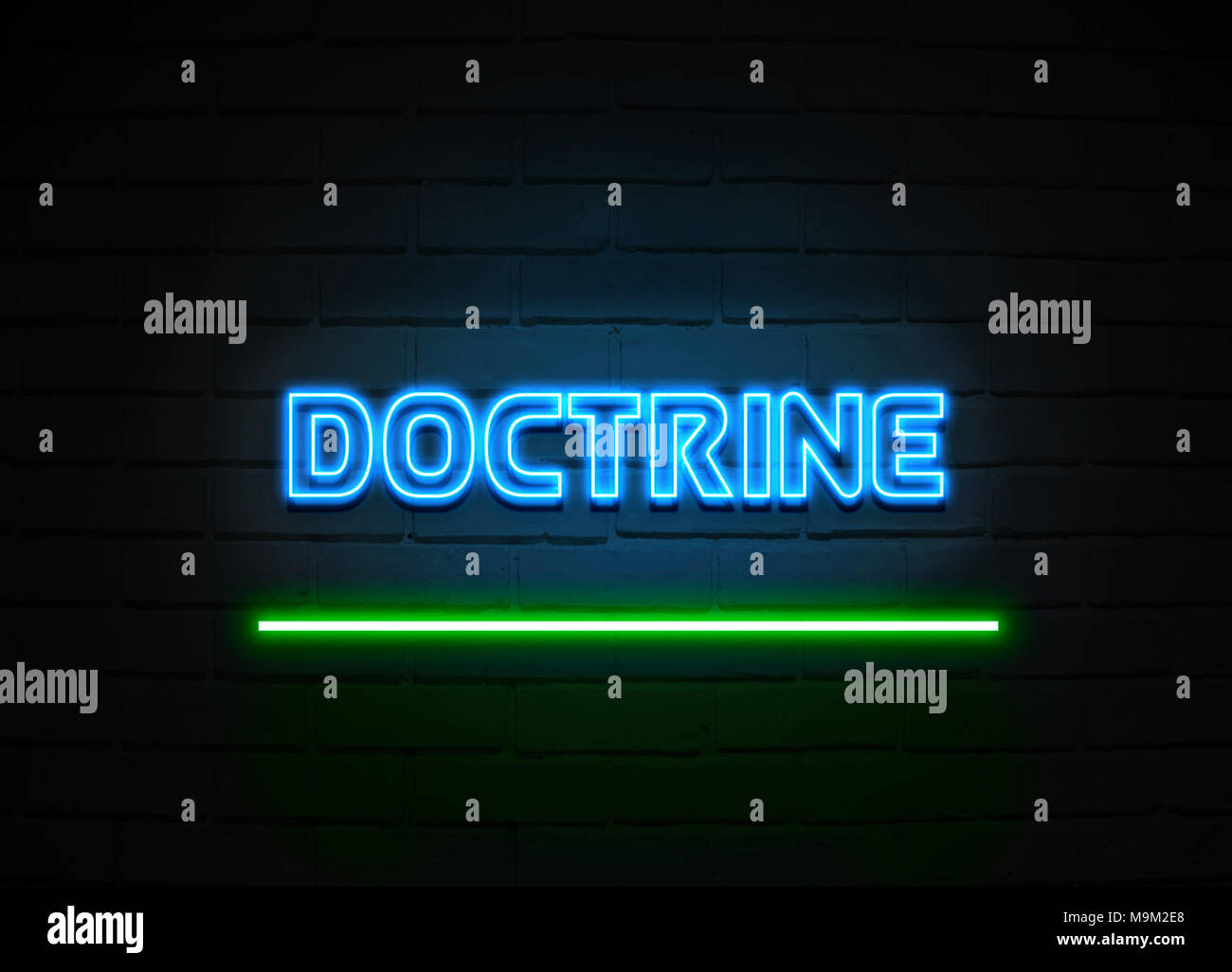 Doctrine neon sign - Glowing Neon Sign on brickwall wall - 3D rendered royalty free stock illustration. - Stock Image