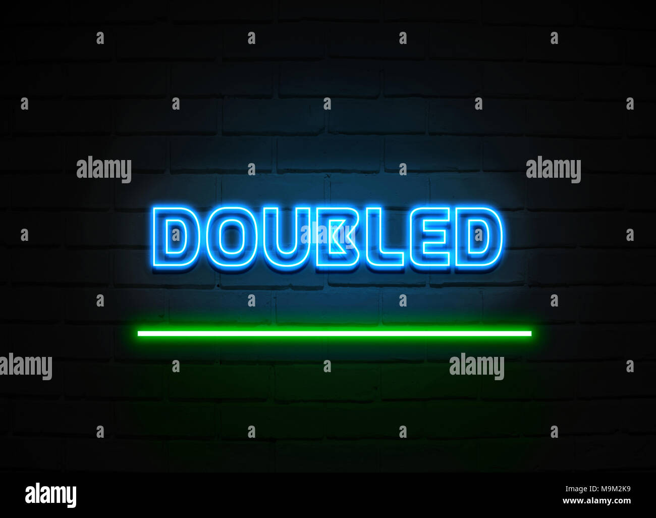 Doubled neon sign - Glowing Neon Sign on brickwall wall - 3D rendered royalty free stock illustration. - Stock Image