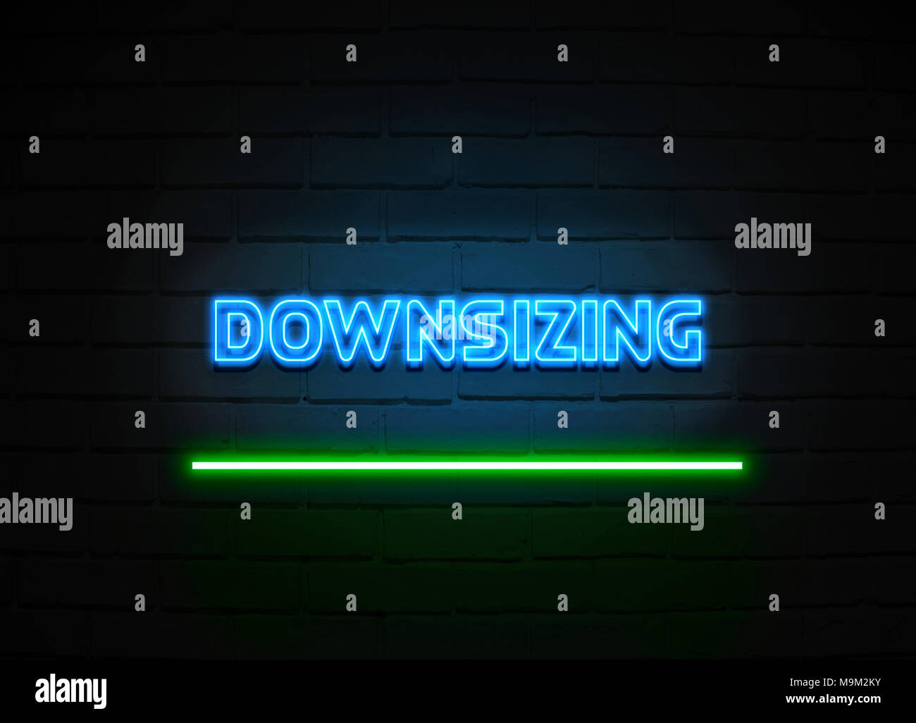 Downsizing neon sign - Glowing Neon Sign on brickwall wall - 3D rendered royalty free stock illustration. - Stock Image