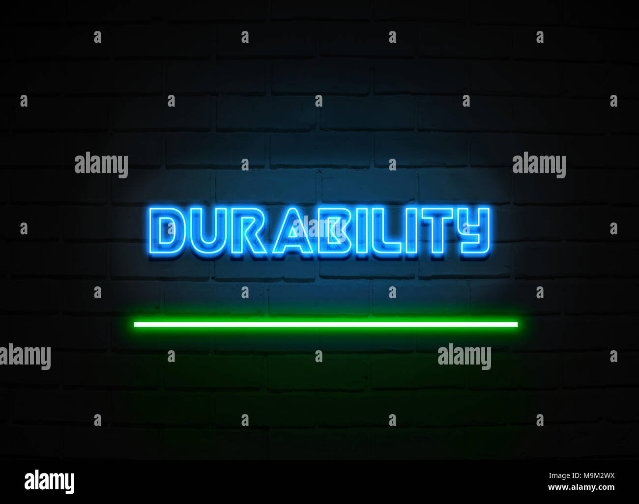 Durability neon sign - Glowing Neon Sign on brickwall wall - 3D rendered royalty free stock illustration. - Stock Image