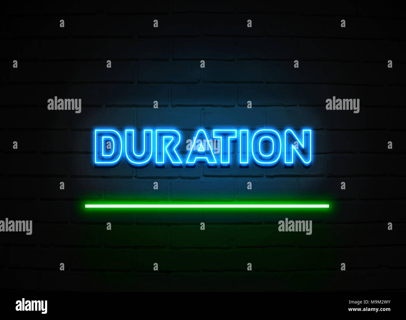Duration neon sign - Glowing Neon Sign on brickwall wall - 3D rendered royalty free stock illustration. - Stock Image