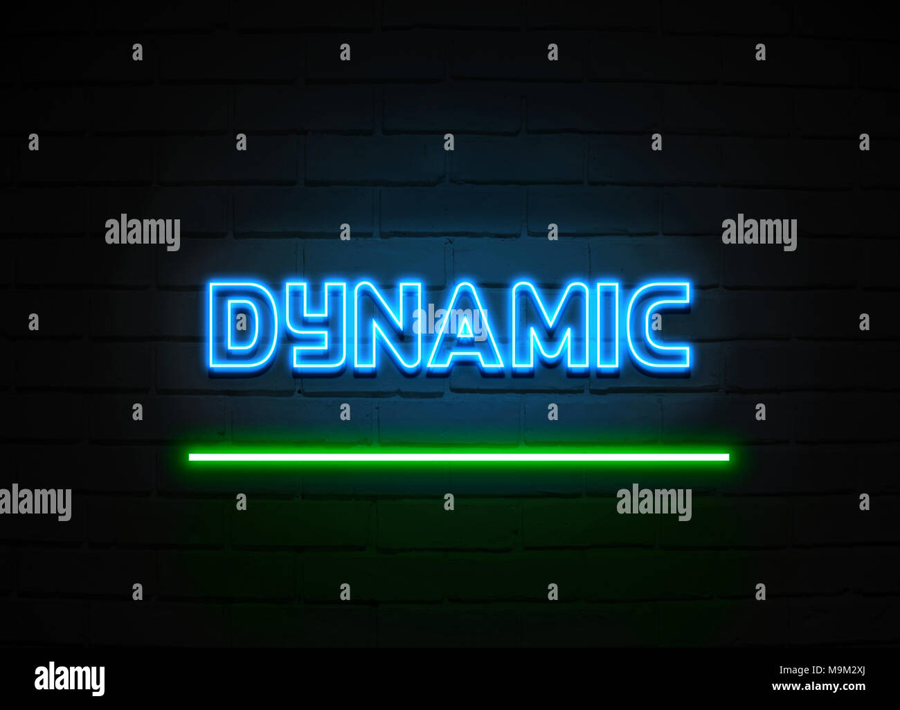 Dynamic neon sign - Glowing Neon Sign on brickwall wall - 3D rendered royalty free stock illustration. - Stock Image