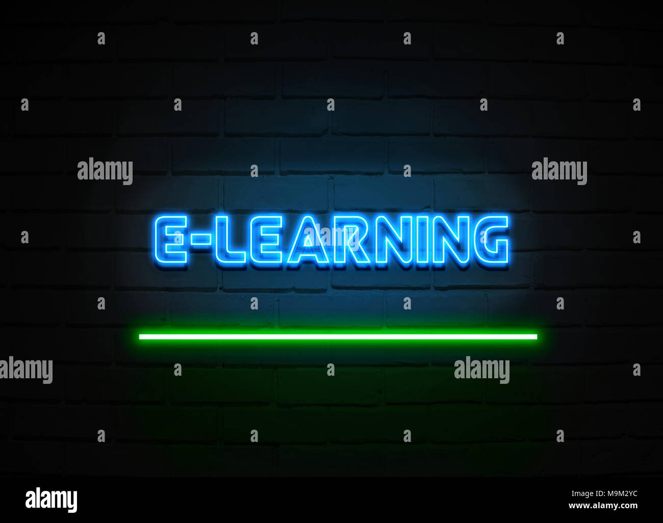 E Learning Neon Sign Glowing Neon Sign On Brickwall Wall 3d Rendered Royalty Free Stock Illustration Stock Photo Alamy
