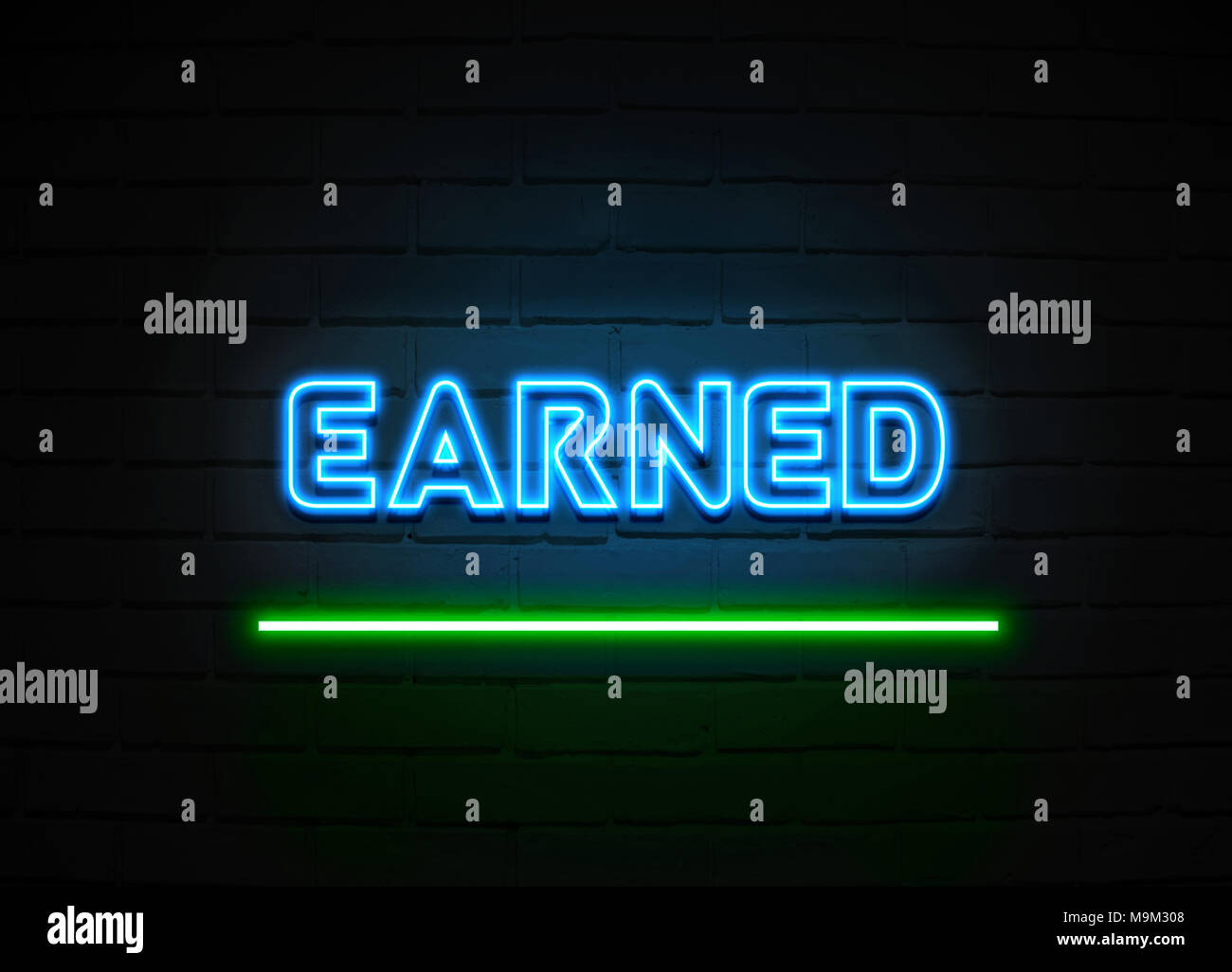 Earned neon sign - Glowing Neon Sign on brickwall wall - 3D rendered royalty free stock illustration. - Stock Image