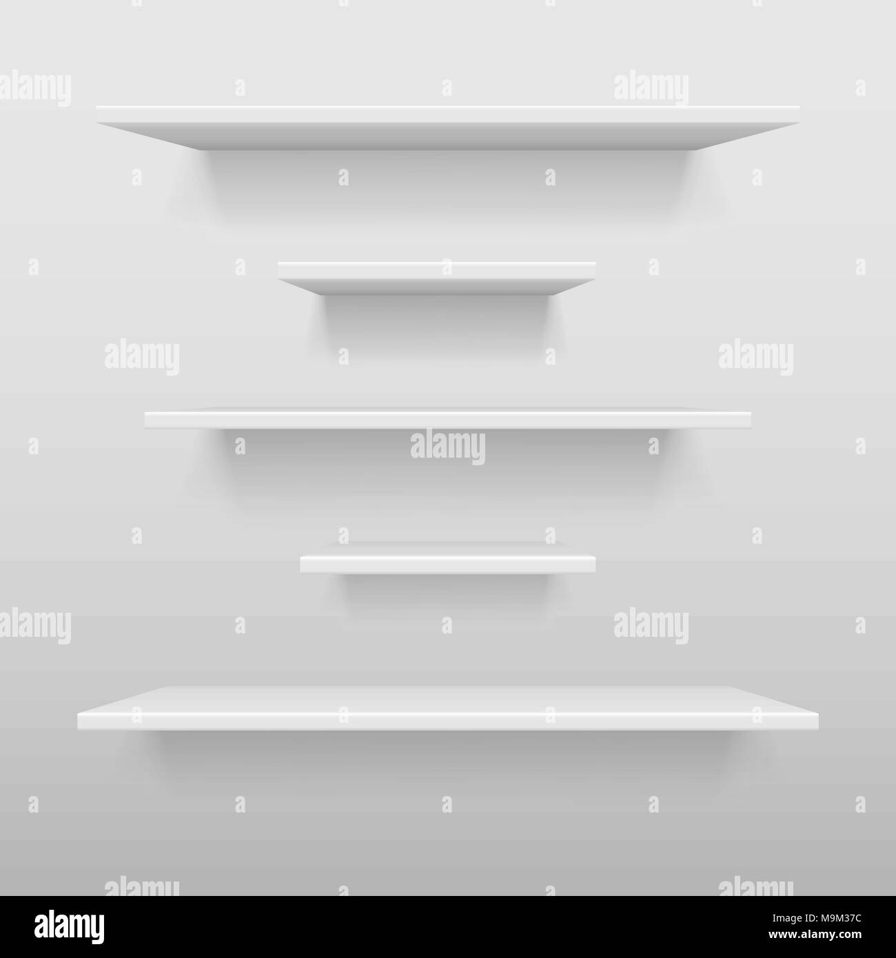 Empty White Shop Or Exhibition Shelf Retail Shelves Mockup Realistic Vector Bookshelf With Shadow On Wall 3d Store