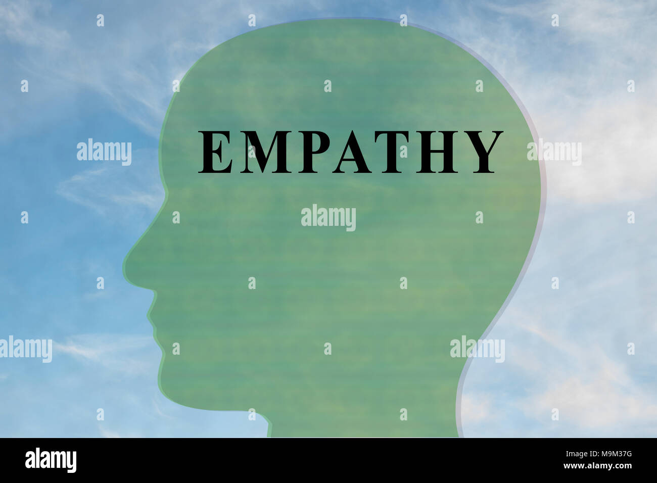 Render illustration of EMPATHY title on head silhouette, with cloudy sky as a background. - Stock Image