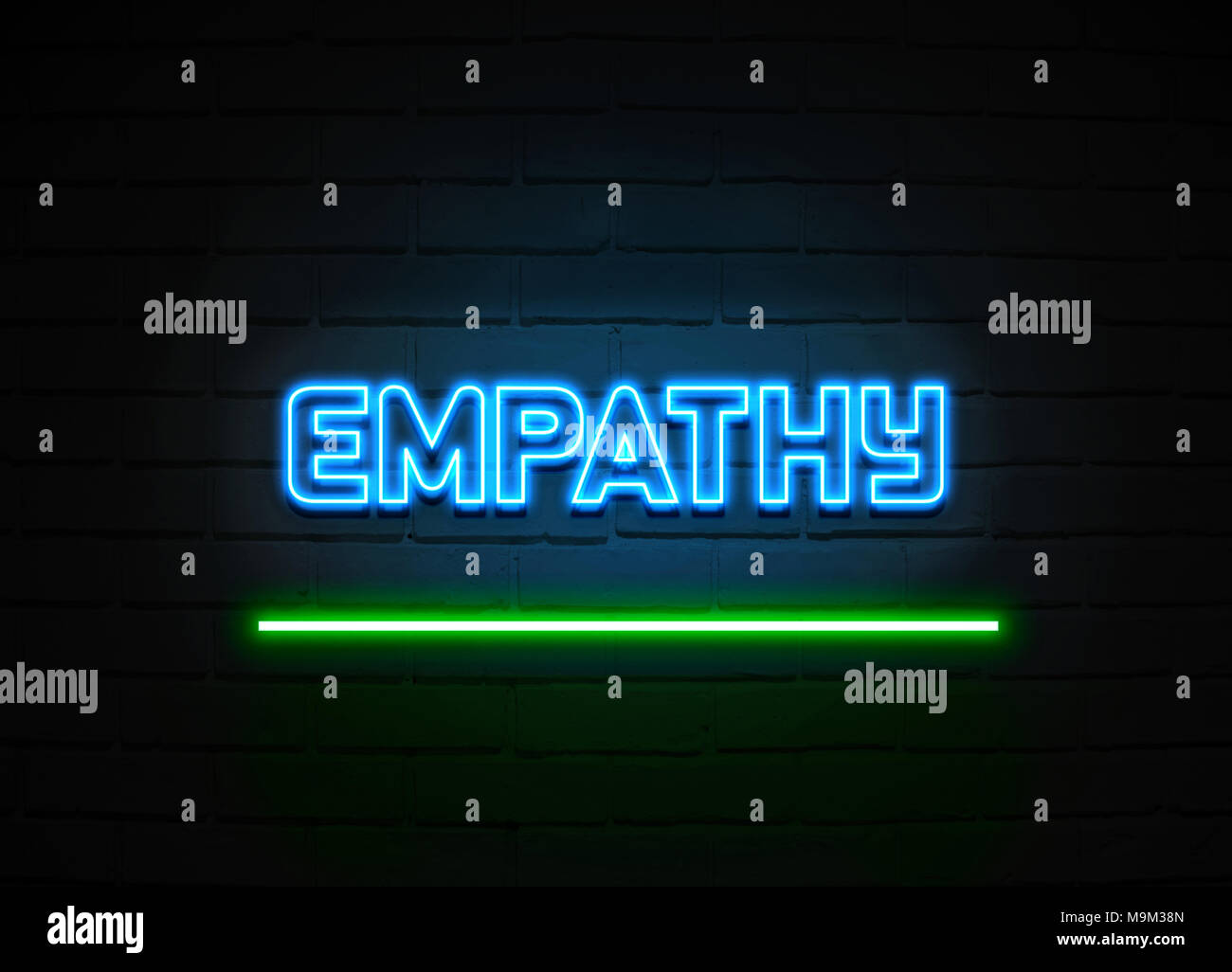Empathy neon sign - Glowing Neon Sign on brickwall wall - 3D rendered royalty free stock illustration. - Stock Image