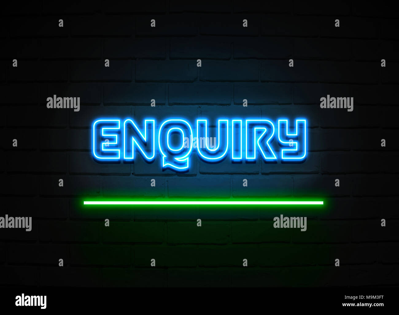 Enquiry neon sign - Glowing Neon Sign on brickwall wall - 3D rendered royalty free stock illustration. - Stock Image