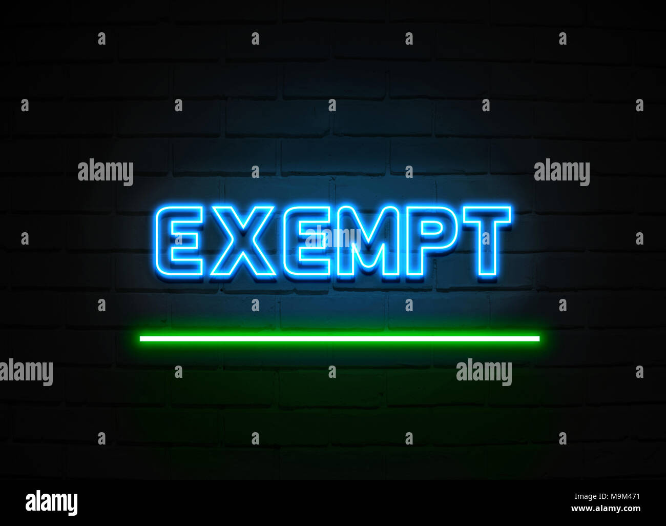 Exempt neon sign - Glowing Neon Sign on brickwall wall - 3D rendered royalty free stock illustration. - Stock Image