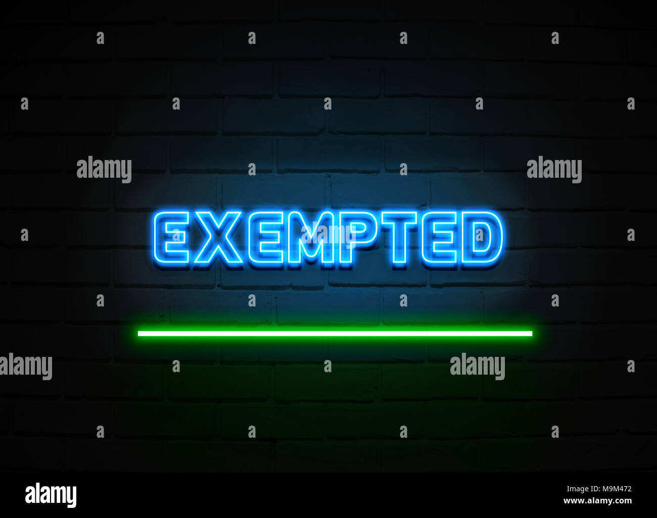 Exempted neon sign - Glowing Neon Sign on brickwall wall - 3D rendered royalty free stock illustration. - Stock Image