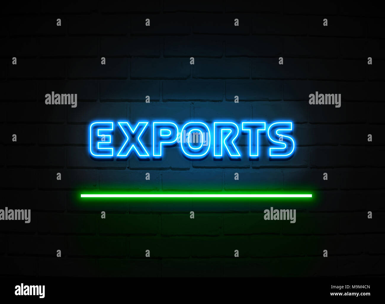 Exports neon sign - Glowing Neon Sign on brickwall wall - 3D rendered royalty free stock illustration. - Stock Image