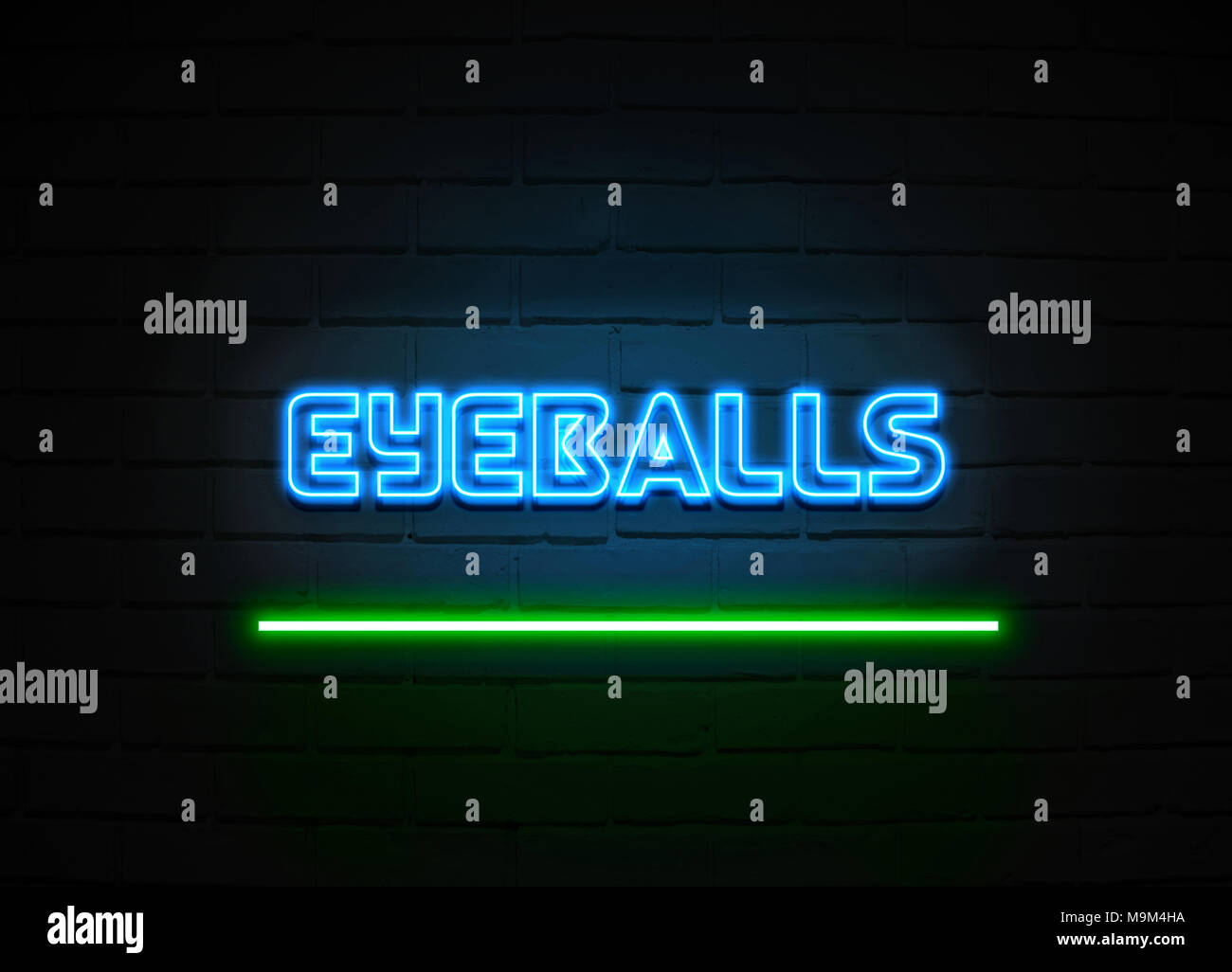 Eyeballs neon sign - Glowing Neon Sign on brickwall wall - 3D rendered royalty free stock illustration. - Stock Image