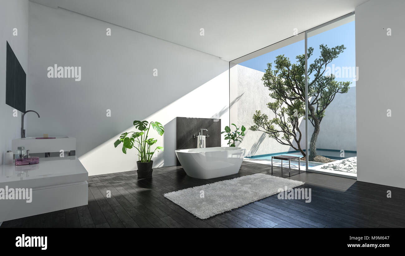 Luxury Condominium Bathroom With Glass Wall Overlooking A Walled Patio And  Tree Lit By A Shaft Of Sunlight On An Oval Tub And Vanities. 3d Rendering