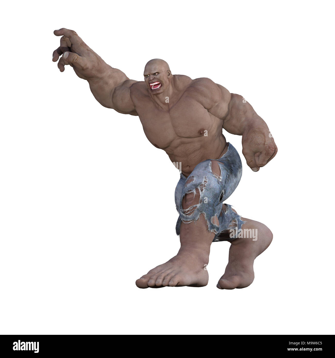 Angry Giant isolated on white, 3d render - Stock Image