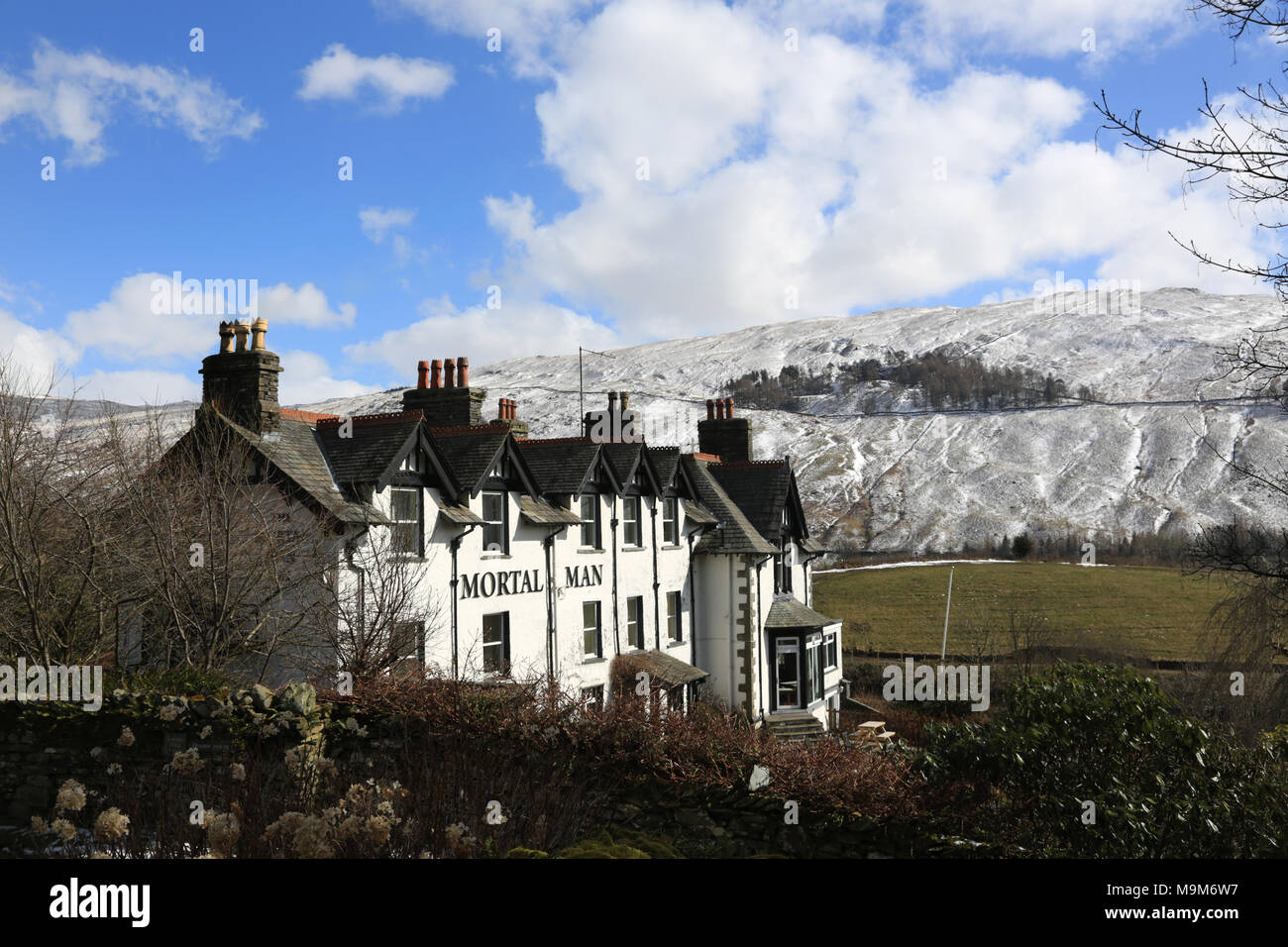 The Mortal Man pub at Troutbeck in the English Lake district, Cumbria, uk. - Stock Image