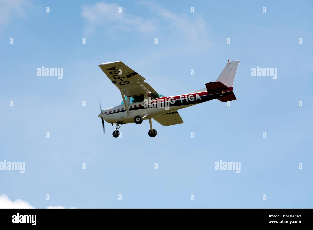 Cessna 152 at Wellesbourne Airfield, Warwickshire, UK (G-FIGA) - Stock Image