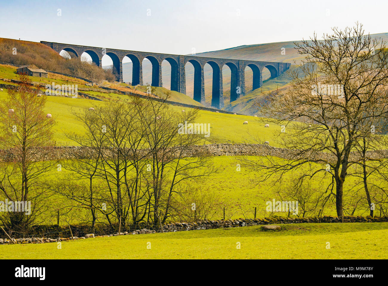 The Arten Gill Viaduct on the Settle-Carlisle railway line above Dentdale in the Yorkshire Dales National Park, England - Stock Image