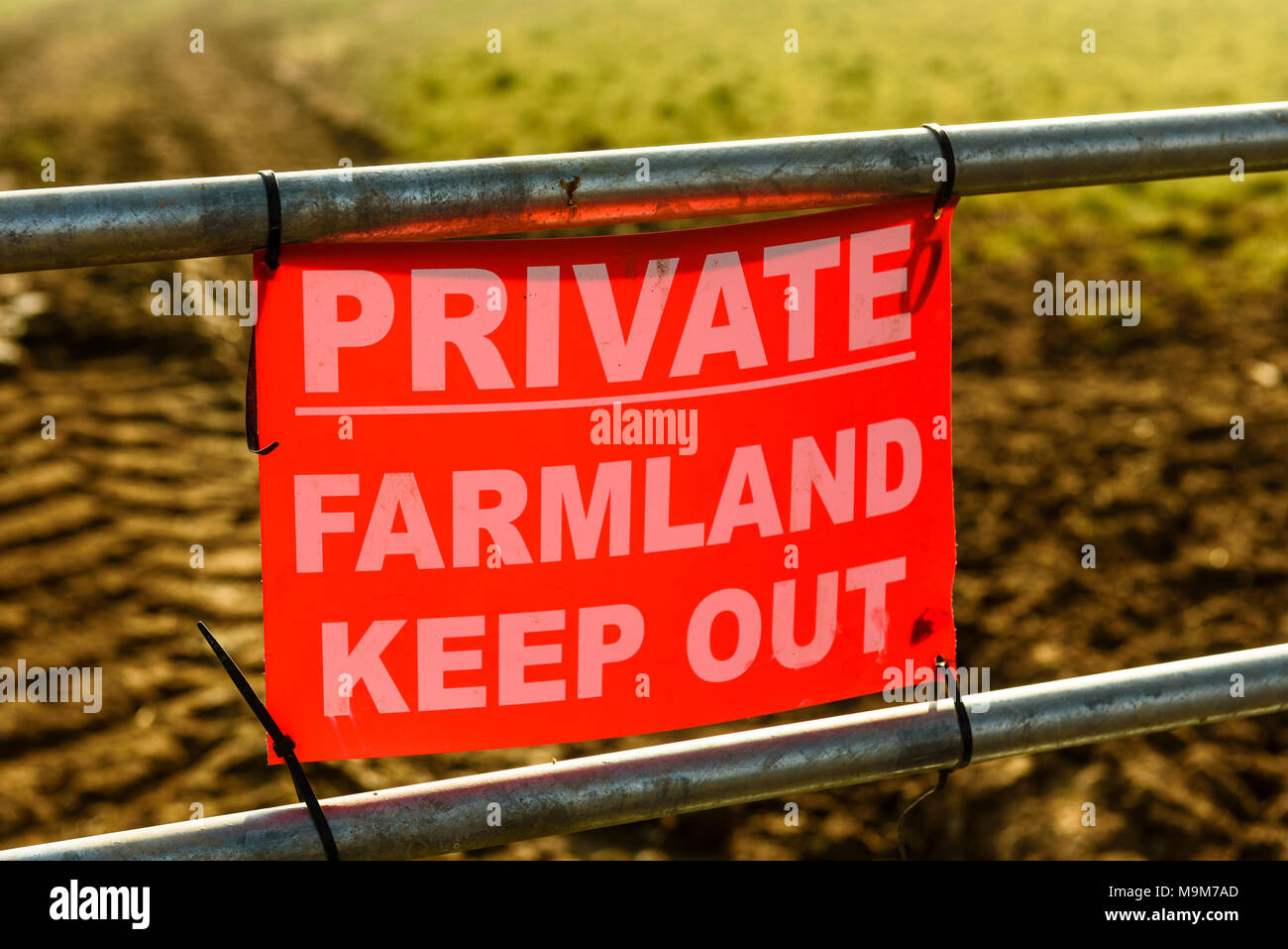 Private Keep Out sign on field gate near Garstang, Lancashire - Stock Image