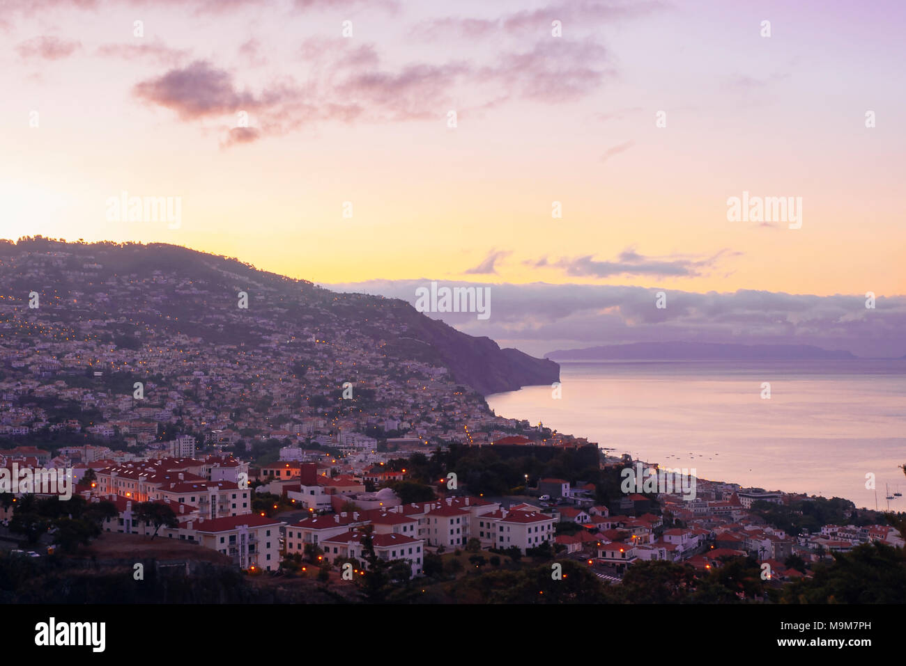 Early morning view over Funchal, Madeira - Stock Image