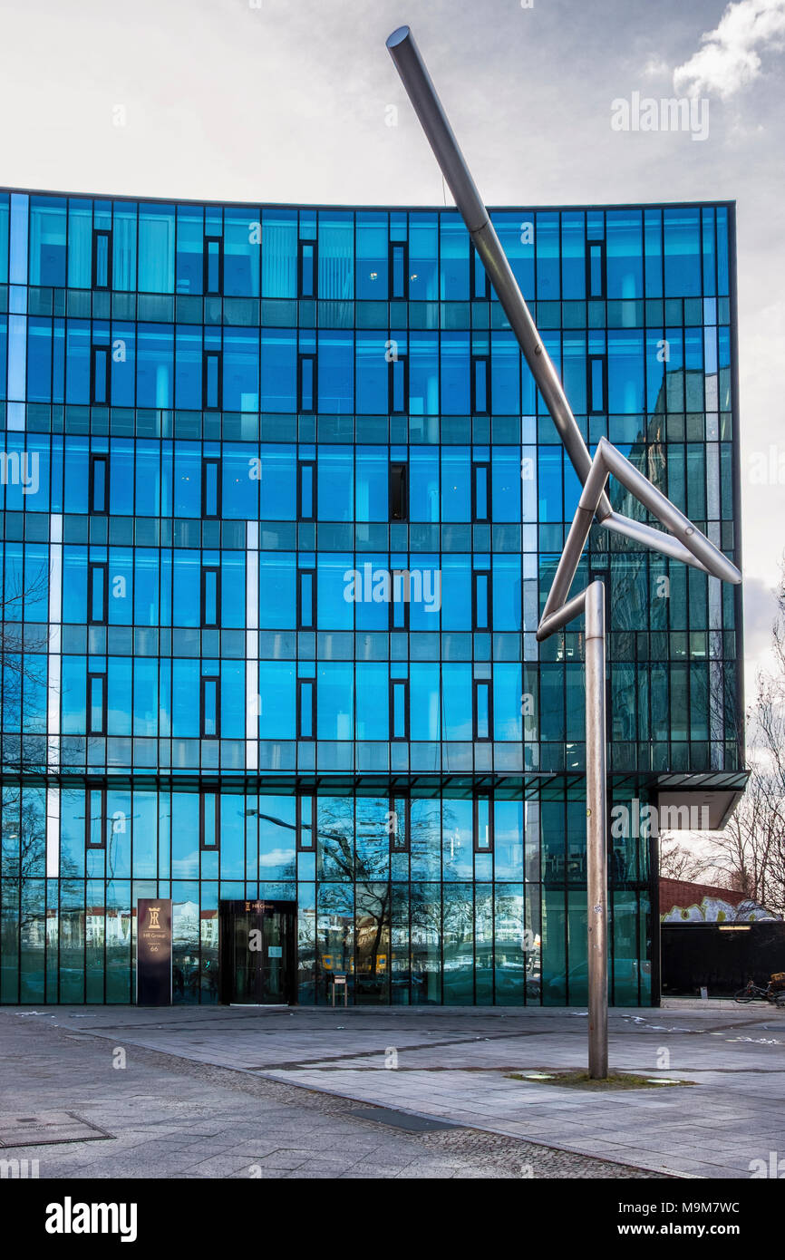 Berlin Schöneberg. HR Group modern glass building. Company business is acquisition & management of hotels - Stock Image