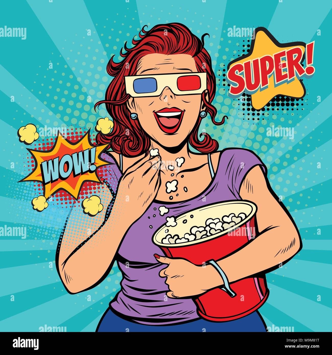 woman in 3D glasses watching a movie, smiling and eating popcorn - Stock Image